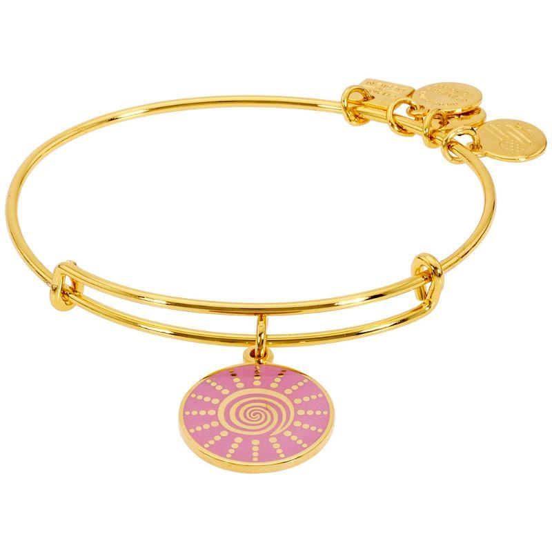 Alex And Ani Spiral Sun Charm Bangle Bracelet Yellow Gold Finish CBD15SSYG-