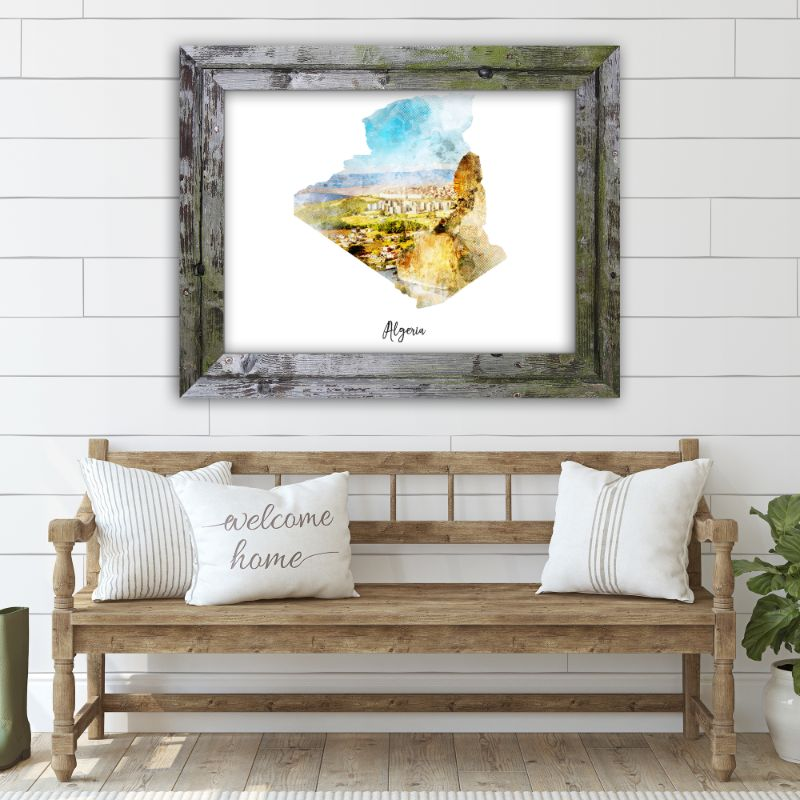 "Algeria Watercolor Map Print - Unframed Art Print-14""x11""-Horizontal/Landscape-Daily Steals"