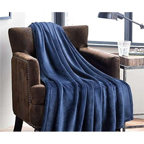 Daily Steals-All-Season Lujosa manta de lana de palomitas de maíz Ultra-Soft 50x60-Throw Throw Blanket - 2 Pack-Home and Office Essentials-Navy-