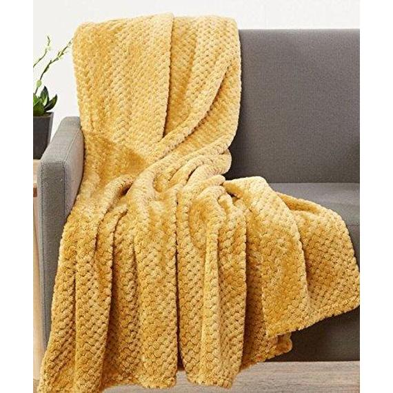 Daily Steals-All-Season Luxurious Popcorn Fleece Ultra-Soft 50x60-Inch Throw Blanket - 2 Pack-Home and Office Essentials-Mustard-