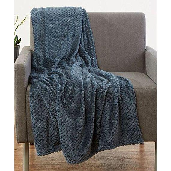 Daily Steals-All-Season Lujosa manta de lana de palomitas de maíz Ultra-Soft 50x60-Throw Throw Blanket - 2 Pack-Home and Office Essentials-Dark Grey-