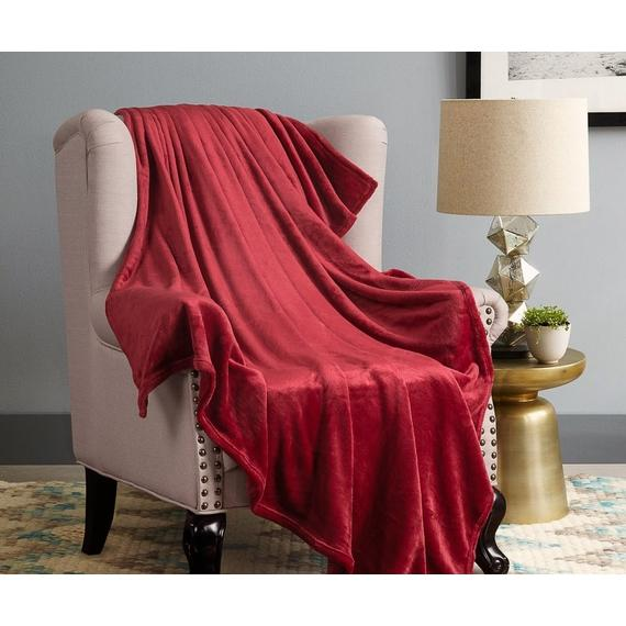 Daily Steals-All-Season Luxurious Popcorn Fleece Ultra-Soft 50x60-Inch Throw Blanket - 2 Pack-Home and Office Essentials-Burgundy-
