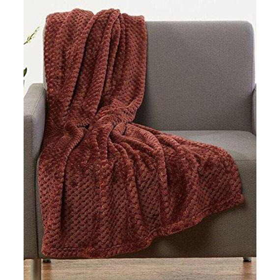 Daily Steals-All-Season Lujosa manta de lana de palomitas de maíz Ultra-Soft 50x60-Throw Throw Blanket - 2 Pack-Home and Office Essentials-Brown-