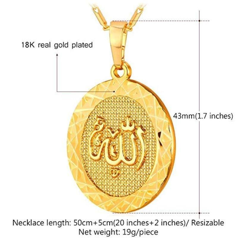 Allah God Almight Arabic Script Pendant Medallion in 18k Gold Filled-Daily Steals