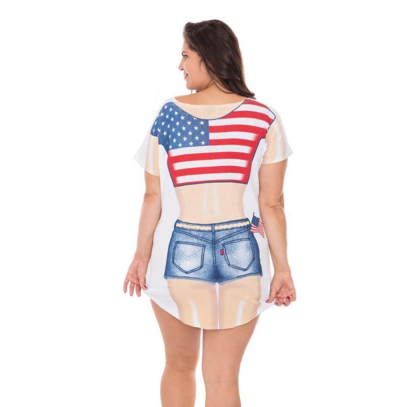 America USA Flag Fun2Wear Cotton Cover-Ups Swimwear Bikini Nightie T-Shirts-Regular-