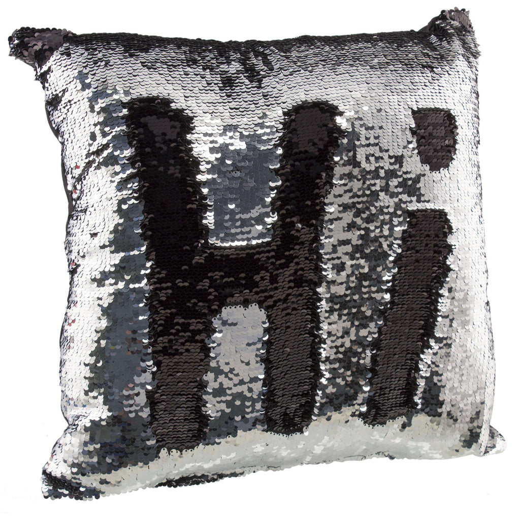 "[2-Pack] Amy Miller 17"" Sequin Mermaid Pillows-Silver/Black-Daily Steals"