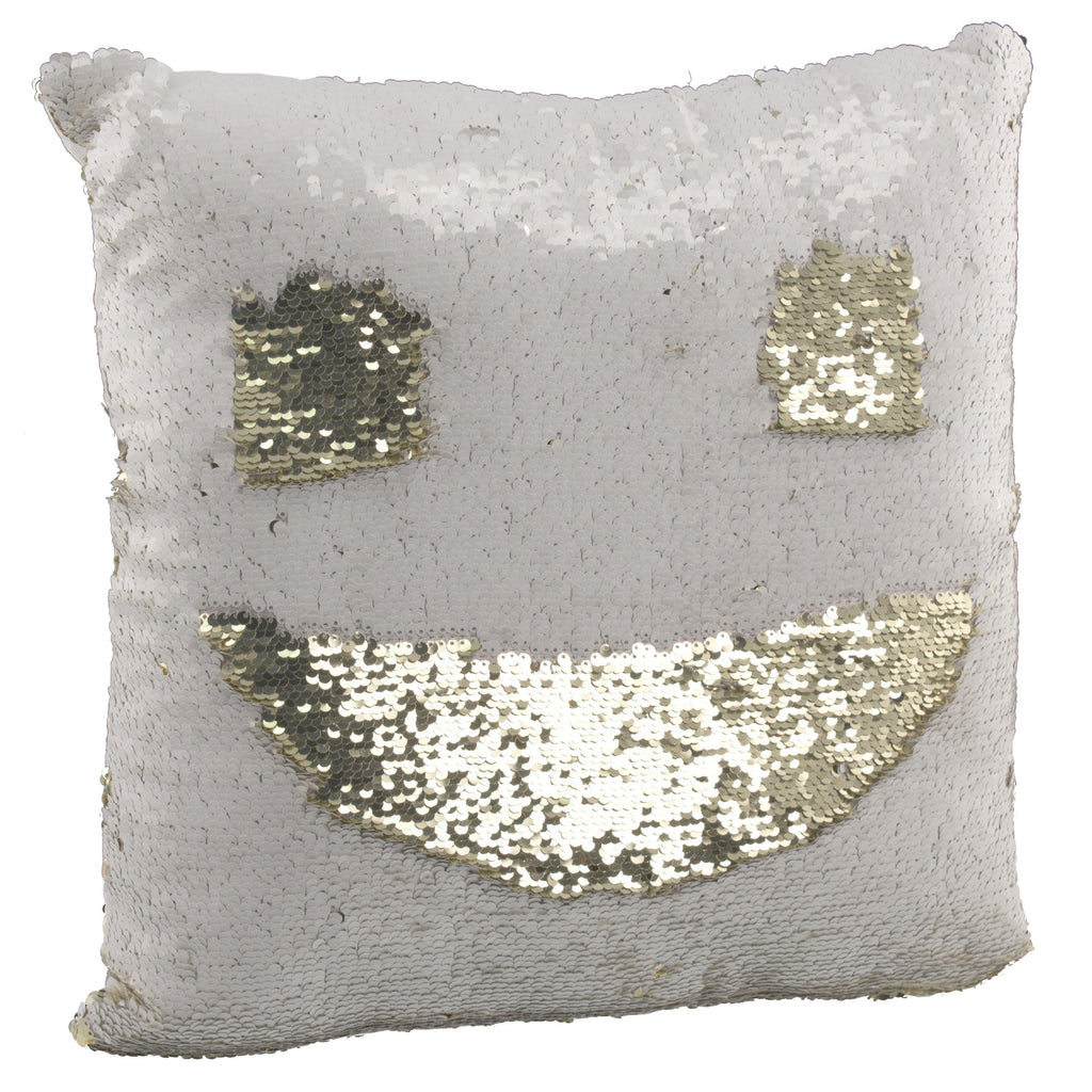 "[2-Pack] Amy Miller 17"" Sequin Mermaid Pillows-White/Gold-Daily Steals"