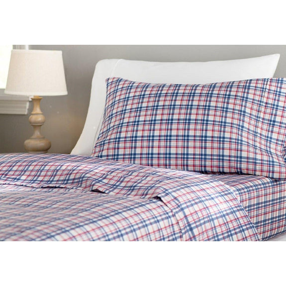 Daily Steals-Andover Mills 90GSM Wrinkle-Resistant Sheet Set (3-Piece or 4-Piece)-Home and Office Essentials-Multi-TWIN Plaid-