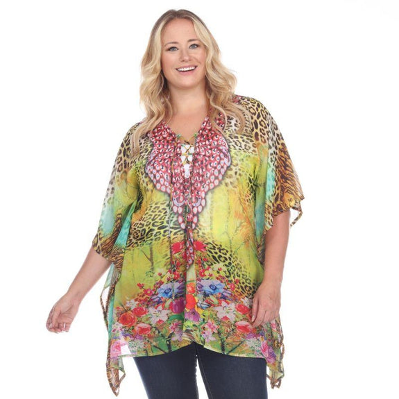 Animal Print Caftan with Tie-up Neckline-Yellow Leopard-Plus Size One Size-