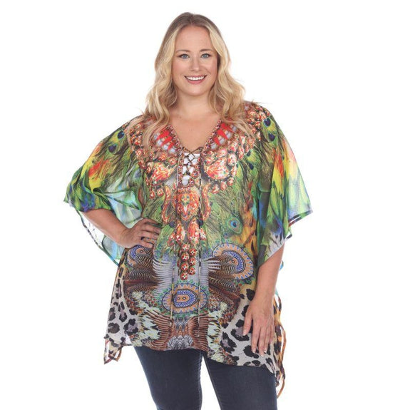 Animal Print Caftan with Tie-up Neckline-Peacock Leopard-Plus Size One Size-