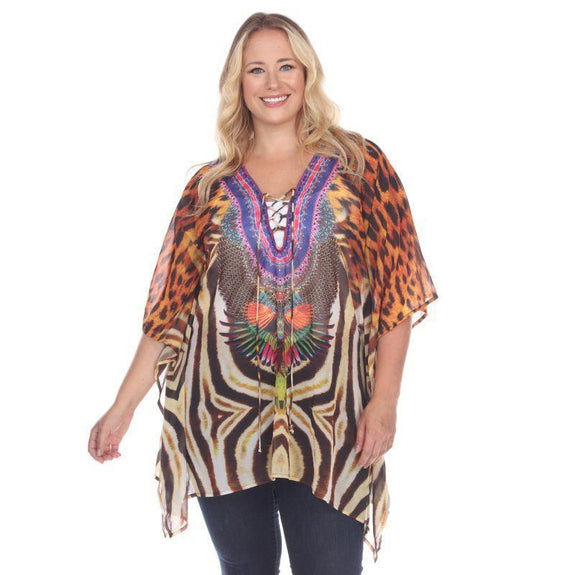Animal Print Caftan with Tie-up Neckline-Tiger Leopard-Plus Size One Size-