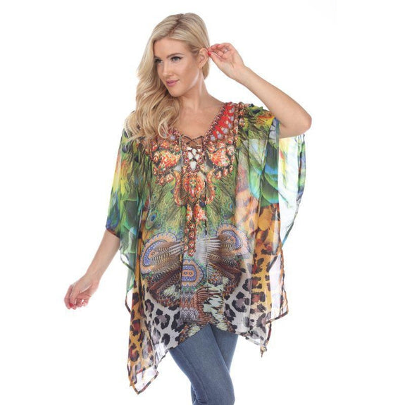 Animal Print Caftan with Tie-up Neckline-Peacock Leopard-One Size-
