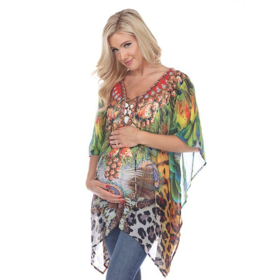 Animal Print Caftan with Tie-up Neckline-Peacock Leopard-Maternity One Size-