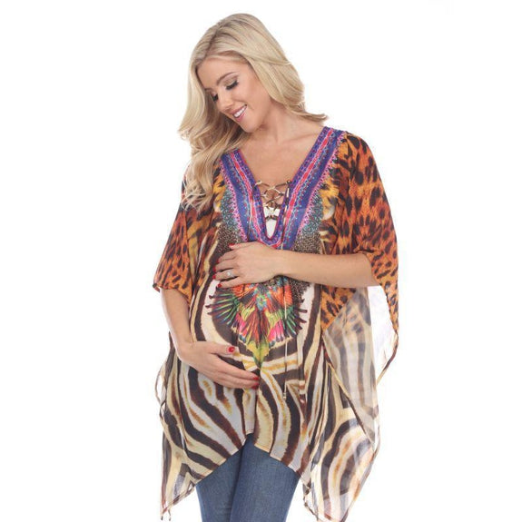 Animal Print Caftan with Tie-up Neckline-Tiger Leopard-Maternity One Size-