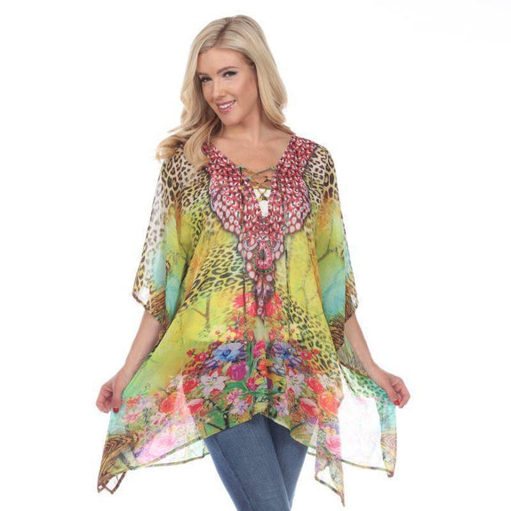 Animal Print Caftan with Tie-up Neckline-Yellow Leopard-One Size-