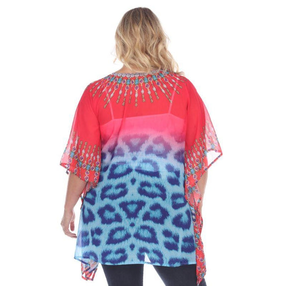 Animal Print Caftan with Tie-up Neckline-Pink Tribe-One Size-