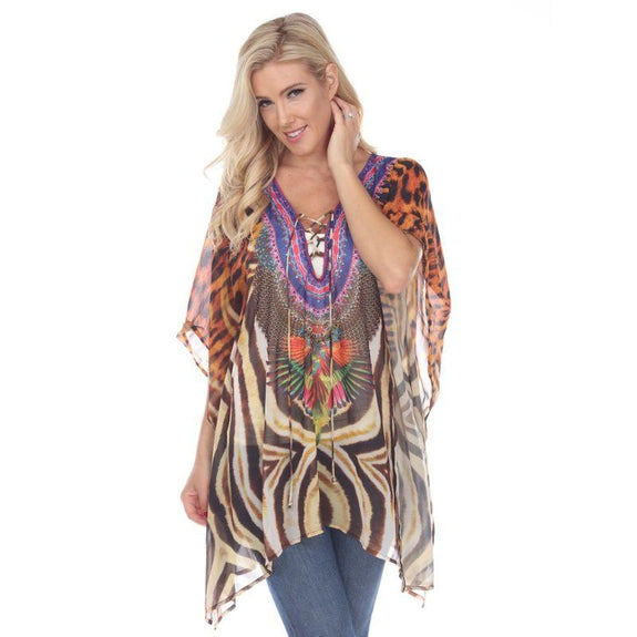 Animal Print Caftan with Tie-up Neckline-Tiger Leopard-One Size-