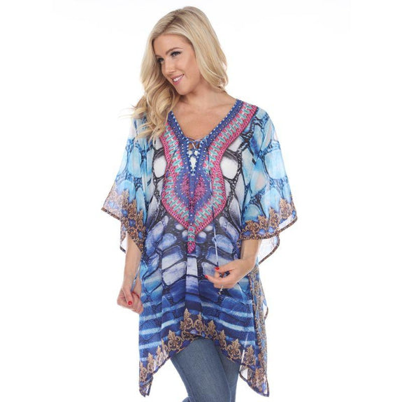 Animal Print Caftan with Tie-up Neckline-Blue Aqua-One Size-