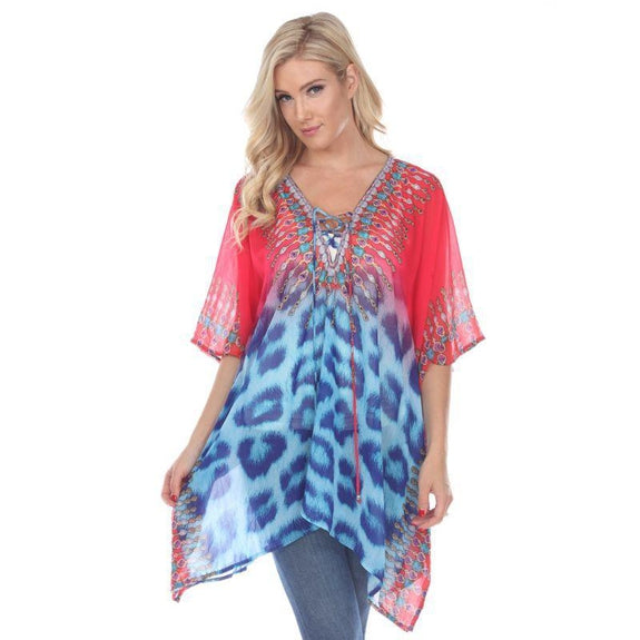 Animal Print Caftan with Tie-up Neckline-Pink Leopard-One Size-