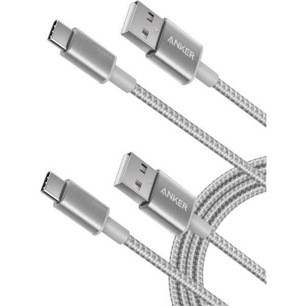 Anker Premium Nylon USB-C to USB-A Fast Charging cables, 3ft - 2 Pack-Silver-Daily Steals
