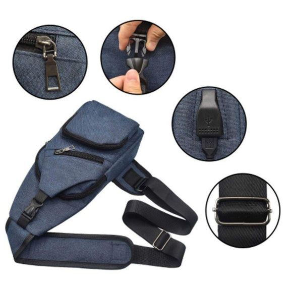 Anti-theft Sling Backpack with Charging Port- 3 Colors-Navy-
