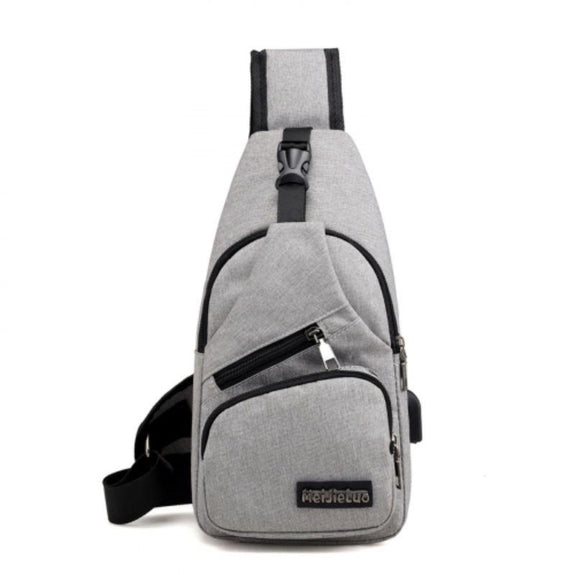 Anti-theft Sling Backpack with Charging Port- 3 Colors-Grey-
