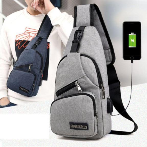 Anti-theft Sling Backpack with Charging Port- 3 Colors-Black-