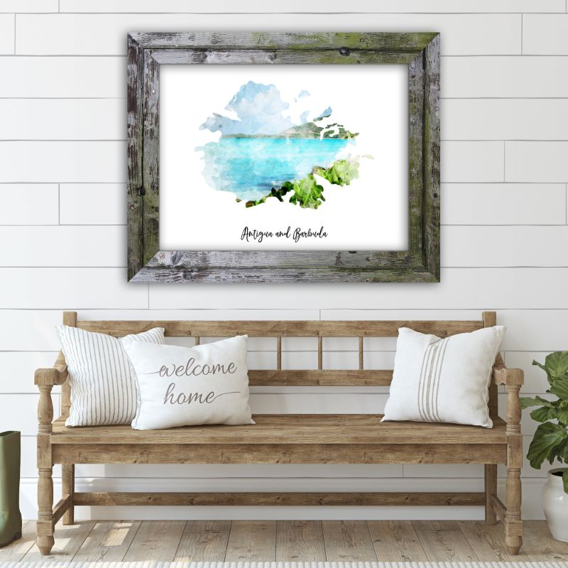 "Antigua and Barbuda Watercolor Map Print - Unframed Art Print-7""x5""-Horizontal/Landscape-Daily Steals"