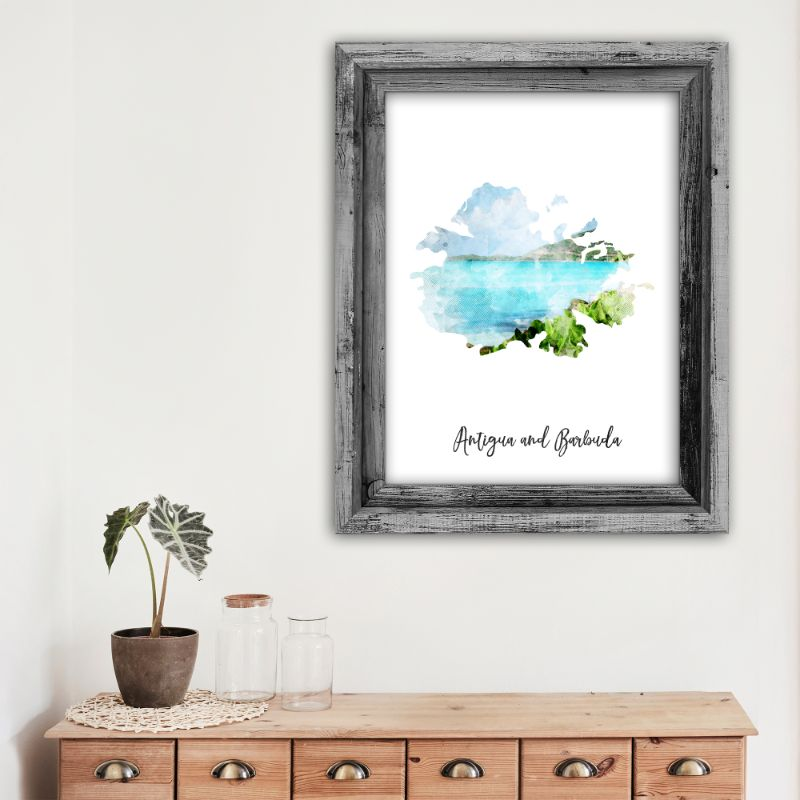 Antigua and Barbuda Watercolor Map Print - Unframed Art Print