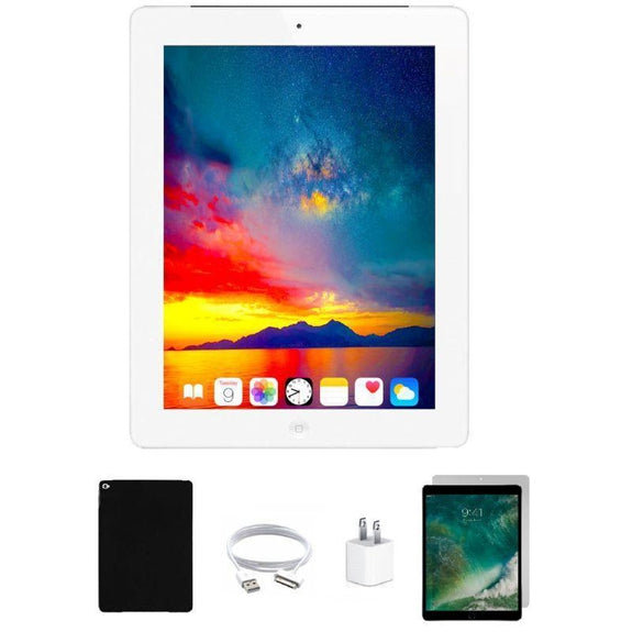 Apple iPad 4 Retina Bundle with Case, Charger & Screen Protector-White 16GB-