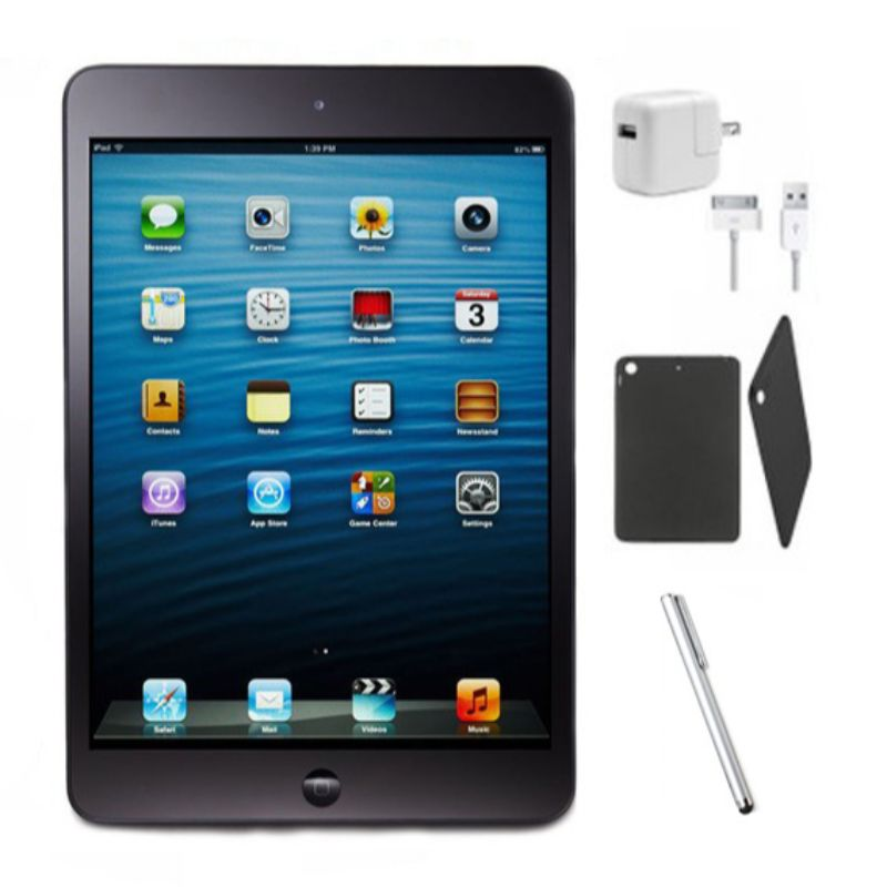 Apple iPad mini WiFi Black Bundle - iPad, Tempered Glass, Case, Charger, Stylus (Refurbished)-16GB-Daily Steals