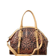 Leopard Print Leather Satchel Bag-Apricot-Daily Steals