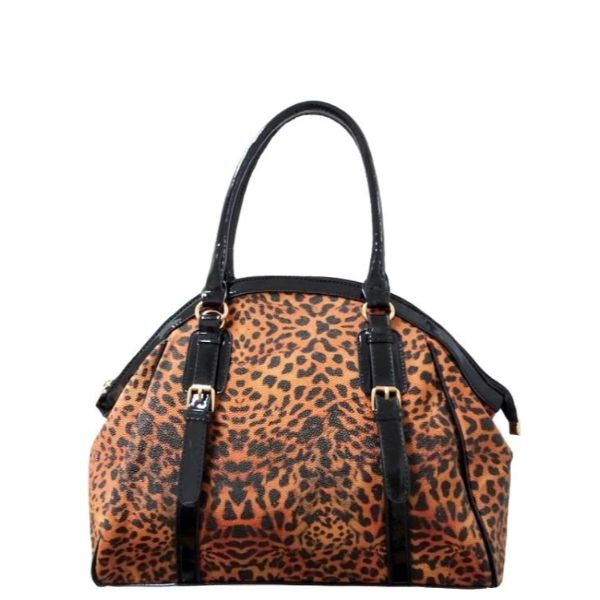 Leopard Print Leather Satchel Bag-Apricot/Black-Daily Steals