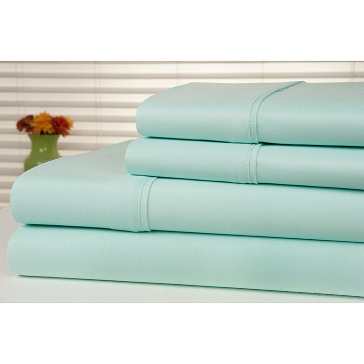 Bamboo Luxury 1800 Count Solid Sheet Set - 4 Pieces-Aqua-Full-Daily Steals