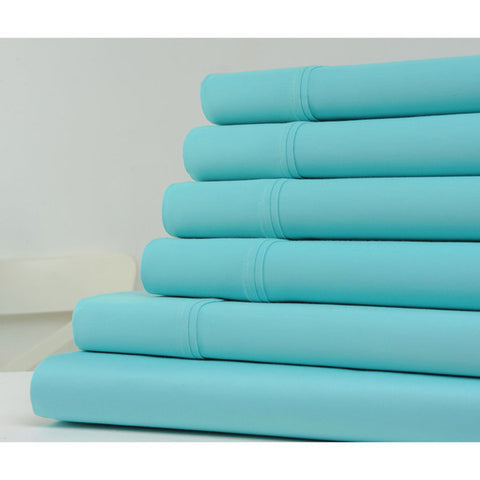 Daily Steals-6-Piece Set: Kathy Ireland 1200 Thread Count Cotton-Rich Solid Sheets - Assorted Colors-Home and Office Essentials-Aqua-Full-