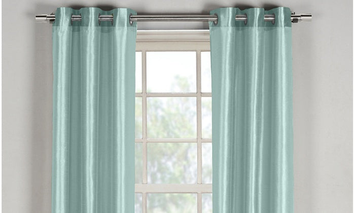 "Bali Faux Silk Grommet Window Panel Pairs-Aqua Blue - 38"" x 96""-Daily Steals"