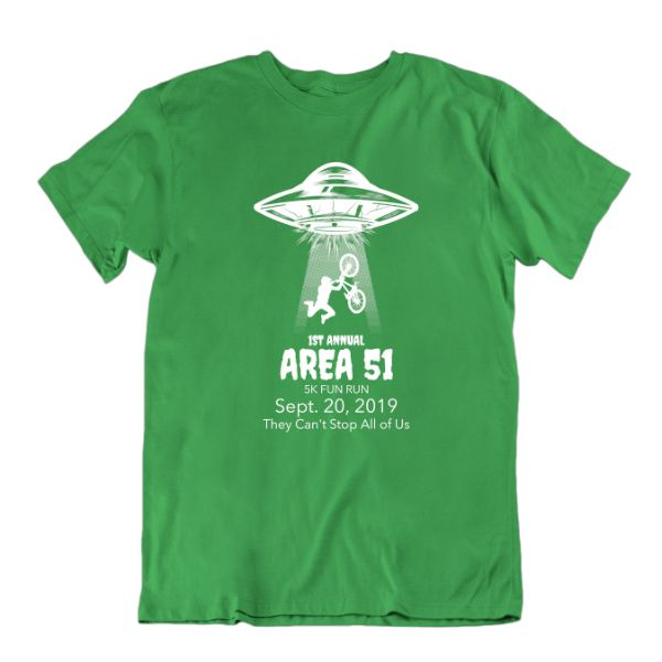 1st Annual Area 51 5K Fun Run. They Can't Stop All of Us T-Shirt-Kelly Green-S-Daily Steals