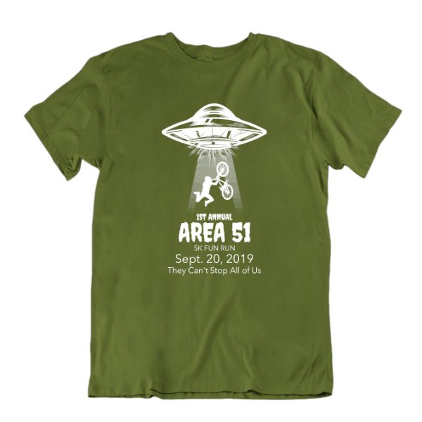 1st Annual Area 51 5K Fun Run. They Can't Stop All of Us T-Shirt-Military Green-S-Daily Steals