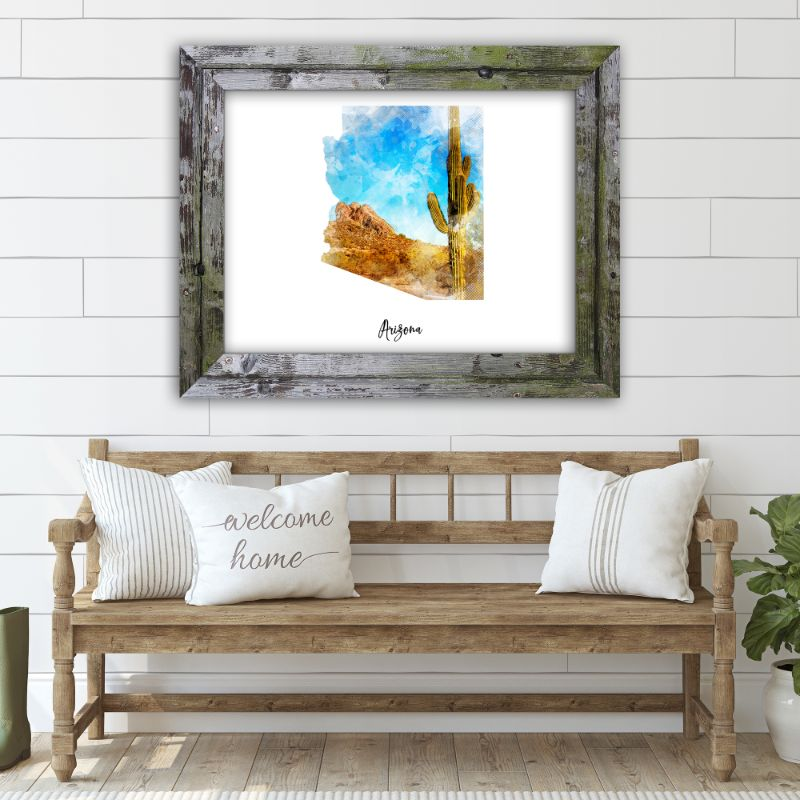 "Arizona Watercolor Map Print - Unframed Art Print-19""x13""-Horizontal/Landscape-Daily Steals"