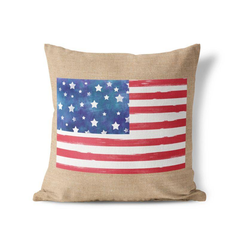 Artsy American Flag - American Fourth of July Patriotic Pillow Cover-