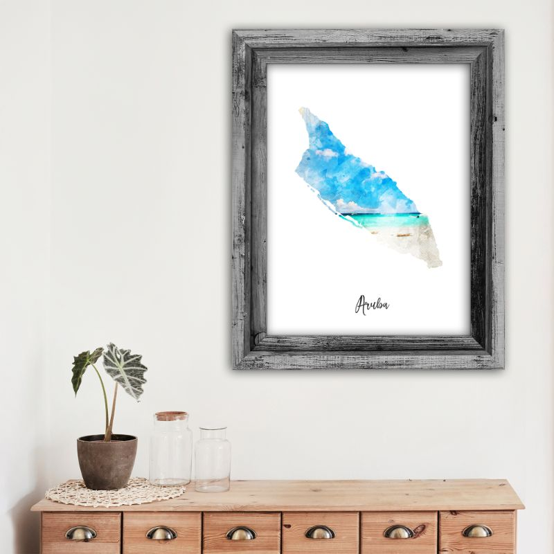 "Aruba Watercolor Map Print - Unframed Art Print-11""x14""-Vertical/Portrait-Daily Steals"