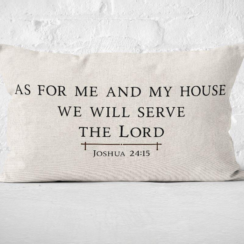 As For Me And My House Lumbar Pillow Cover 20 X 12