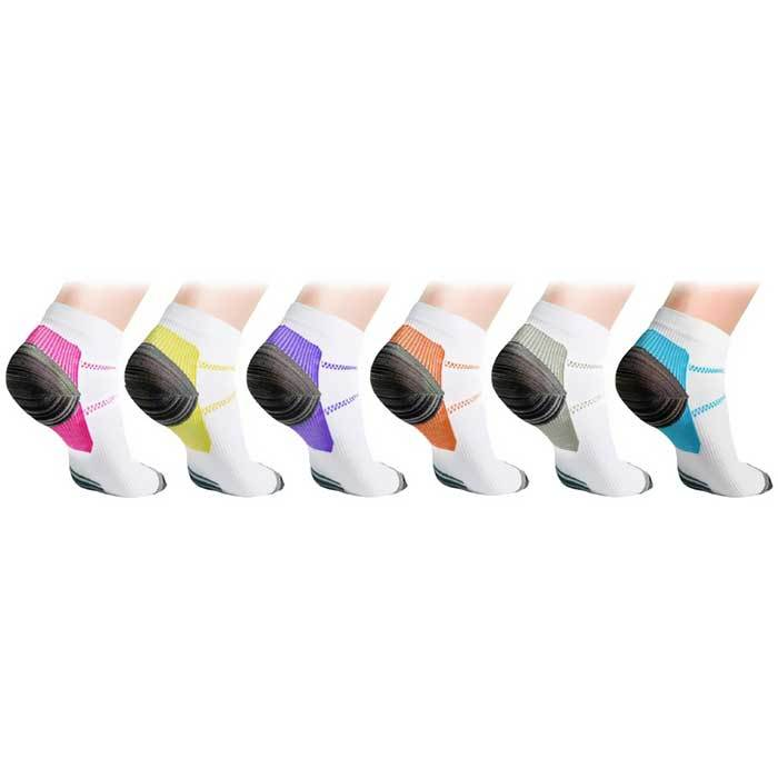 [6-Pairs] Unisex Ankle Compression Socks - Assorted Colors-L/XL-Daily Steals