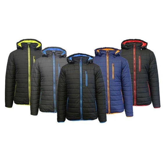 Men's Puffer Jacket with Contrast Trim-Daily Steals
