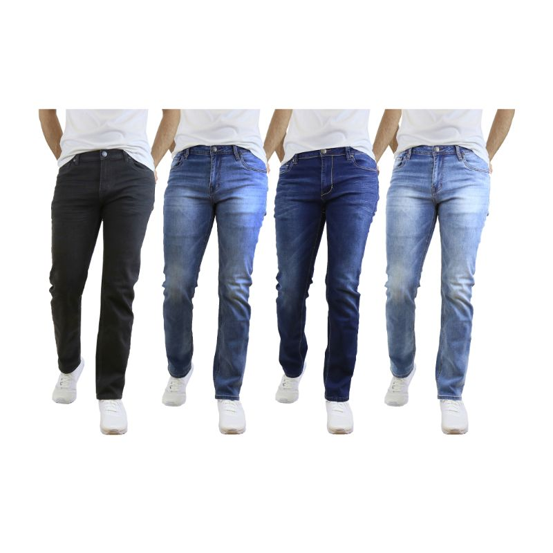 Assorted Mens Straight Leg Stretch Jeans - 2 Pack