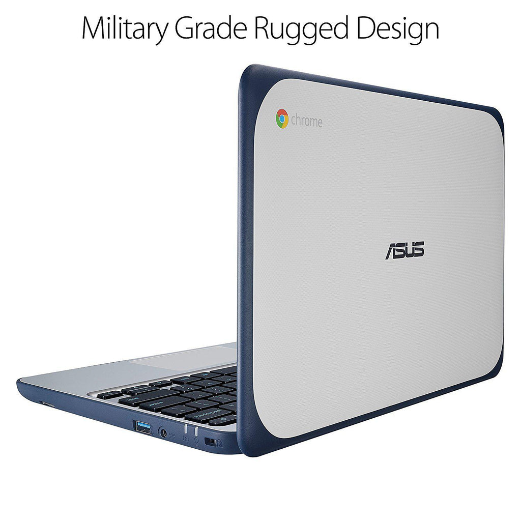 "Daily Steals-ASUS Chromebook 11.6"" Ruggedized, Water Resistant, Intel Celeron 4 GB, 16GB eMMC, Dark Blue, Silver-Laptops-"