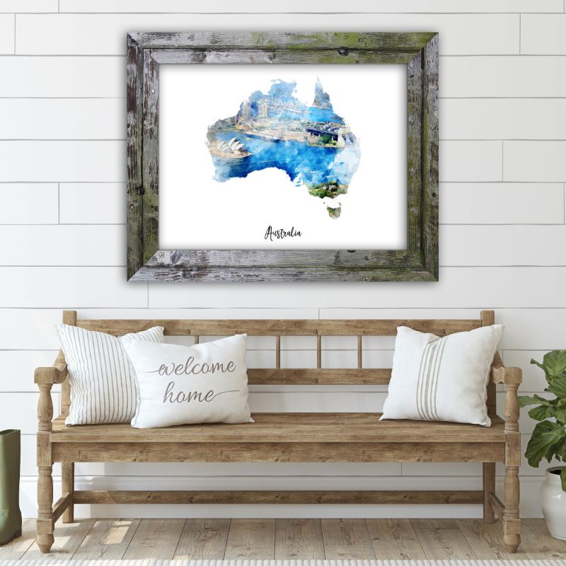 "Australia Watercolor Map Print - Unframed Art Print-14""x11""-Horizontal/Landscape-Daily Steals"