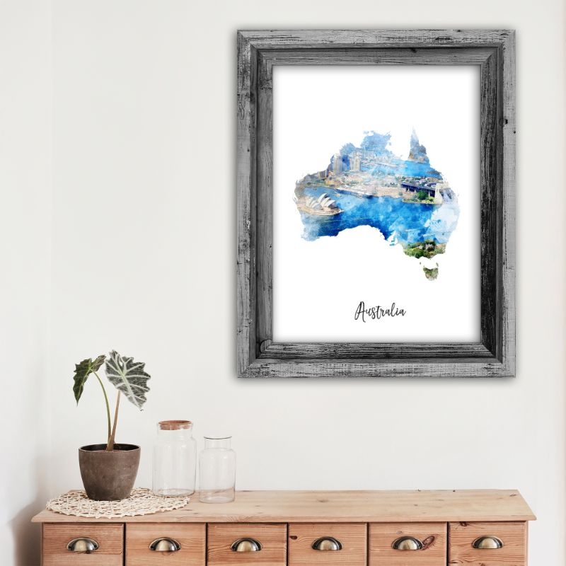 "Australia Watercolor Map Print - Unframed Art Print-5""x7""-Vertical/Portrait-Daily Steals"