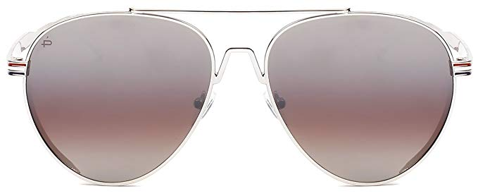 "PRIVÉ REVAUX ICON Collection ""The G.O.A.T"" Designer Polarized Aviator Sunglasses-Silver-Daily Steals"