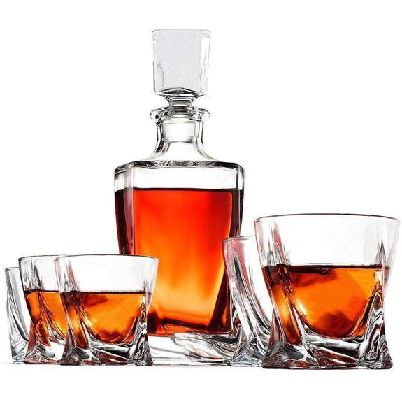 Whiskey Decanter Set with Tray, Cooling Stones, Glasses & Tongs-Daily Steals